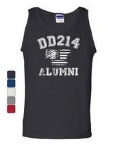 DD214 Alumni Distressed American Flag Tank Top Military Veteran Sleeveless - $9.59+