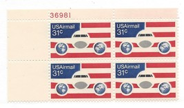 1976 31c Plane Globes Flags Plate Block of 4 US Airmail Stamps Catalog C90 MNH