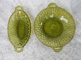 TWO VINTAGE INDIANA GREEN GLASS SERVING DISHES CANDY DISHES - $9.99