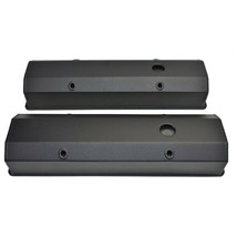 "Chevy Fabricated Aluminum Tall Valve Covers 1/4"" Rail SBC 327 350 383 400 BLACK"