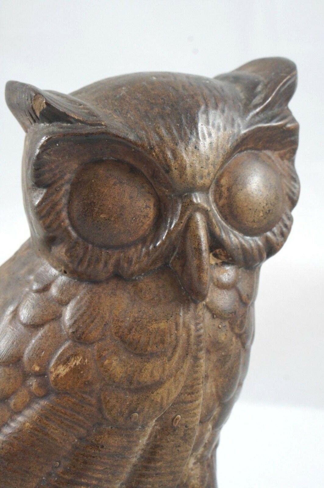 VIntage Fabbri Art Studio Co Brown Chalkware Owl  San Francisco USA image 9