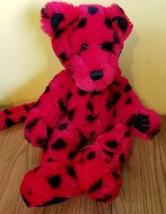 "First Main Zooglie Cheetah Teddy Bear 15"" Large Plush Red Black Polka Dot  - $15.56"