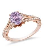 Enchanted Disney Rapunzel Oval Rose Amethyst 0.32 CT. CZ Diamond Engagement Ring - $103.00