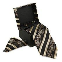 Berlioni Men's Silk Neck Tie Box Set With Cufflinks & Pocket Square (2088 - Blac