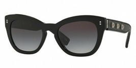 Valentino VA4037 50018G Black Leather Butterfly Sunglasses 53mm Authentic - $251.23