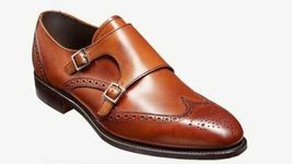 Handmade Men's Brown Leather Wing Tip Heart Medallion Double Monk Strap Shoes image 2