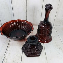 Avon 1876 Cape Cod  Ruby Red Bowl Candy Dish Ruby Red Bell Candle Holder... - $22.76