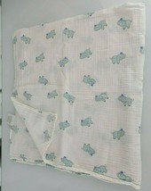 Aden + Anais Blue White Elephant Baby Blanket Swaddle Muslin Gray Cotton - $18.31