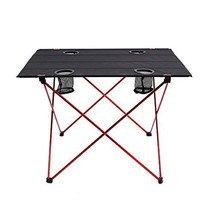 """Lightweight Folding Table with Cup Holders (L - Unfolded: 29.5"""" x 22"""" x 21 - $51.42"""