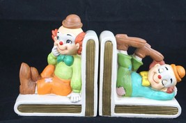 Vintage Lefton China Ceramic Bookends Adorable Clowns Japan Hand Painted - $57.57