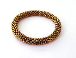 Bead Crochet Beaded Bracelet Bronze Bangle Wristband - $8.00+