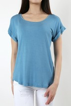 Carolina Blue Blouse, Scoop Neck, Folded Sleeves, Short Sleeve, Womens Top Shirt