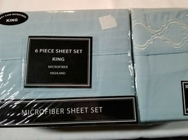 Victoria Classics Brand ~ 6 Piece Sheet Set ~ Microfiber ~ King Size ~ Blue - $47.52