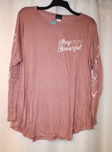 New Womens Plus Size 3X Dusty Pink Stay Beautiful Long Sleeve W <3s Shirt Top - $19.34