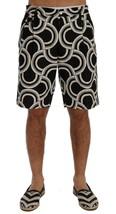 New $610 Dolce & Gabbana Men Black White Pattern Linen Shorts It44-Xs - $199.96