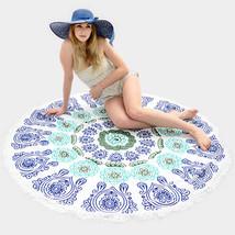 Round Beach Towel Blue Moroccan Print Poncho with Tassel Trim 332480 - $37.47 CAD