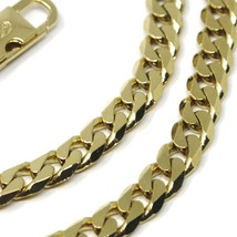 """MASSIVE 18K GOLD GOURMETTE CUBAN CURB FLAT CHAIN 5.5 MM 24"""" NECKLACE ITALY MADE image 2"""