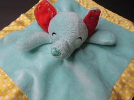 """Q1 Fisher Price Elephant Lovey Yellow Blue Security Blanket Plush 12"""" x 12""""  - $14.84"""