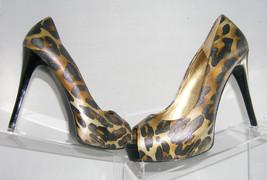 Guess 'Patches' peep toe leopard print shoes heel hidden platform womens black - $9.31