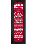 "Personalized Boston University Terriers ""Family Cheer"" 24 x 8 Framed Print - $39.95"