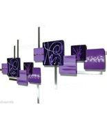 Huge Passionate Purple Square Wood and Metal Wall Hangings, Wall Sculpture  - $326.69
