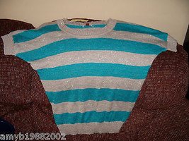 L.e.i. Lake Blue Striped Short Sleeve Sweater Size XL Women's  NEW LAST ... - $17.80
