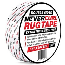 """NeverCurl Double Sided Extra Thick Rug Tape with Mesh Fabric - 1.5"""" by 30 Feet R"""