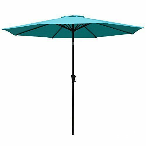 Patio Umbrella: 9 ft Aluminum Push Button Tilt Crank Blue 100% Polyester
