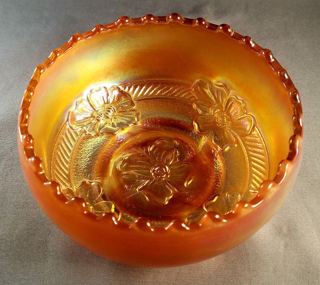 Antique Dugan Marigold Carnival Glass Apple Blossom Bowl (circa 1920s)
