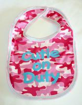 Baby Bib Cutie On Duty Girl Pink Camo New Blue Writing Babies - $1.97