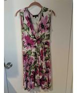 KAREN KANE Fuschia Floral Sleeveless Stretch Faux Wrap Dress Size S Pre-... - $29.65