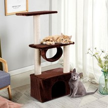 "37"" Cat Tree Condo Scratch Post Kitten Pet House-Coffee - £39.46 GBP"
