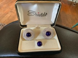 Shields Fifth Avenue Silver Cufflinks and Tie Clip Clasp Set Vintage New in Box - $9.99