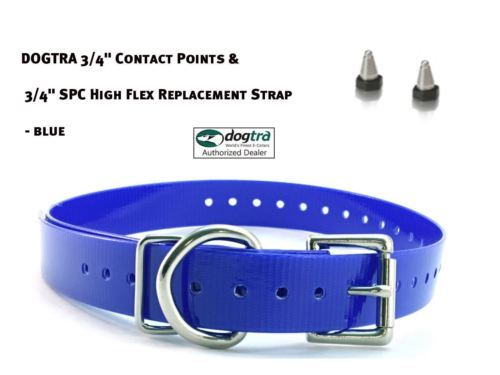 "DOGTRA 3/4"" Contact Points & 3/4"" SPC High Flex Replacement Strap - Blue"