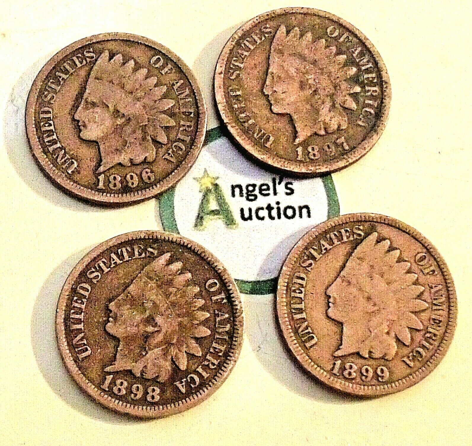 Indian Head Penny 1896, 1897, 1898 and 1899 AA20-CNP2126 Antique