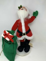 "Vintage 1990 Annalee Santa Clause Doll w Green Bag of Toys #5615 18"" Huge - $59.39"