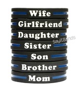 Thin Blue Line Wristband Bracelet - Your Choice of Family Member Police ... - £1.37 GBP
