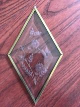 Glass Etched Hummingbird Suncatcher Diamond Brass Metal Framed - $30.30