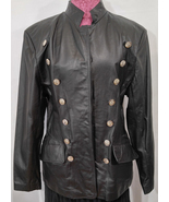 Vintage 1990s Virginia Slims Leather Double-Buttoned Military Style Jack... - $127.00