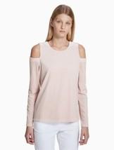 Calvin Klein Women's Velvet Cold Shoulder Striped Shirt Top, Medium, Blush - $29.00