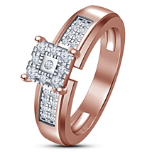 Womens Lab Created White Diamond 10K Rose Gold Plated 925 Silver Engagem... - £51.21 GBP