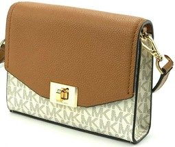 Michael Kors Cassie Vanilla and Acorn Shoulder Cross Body Bag Small Han... - $190.87
