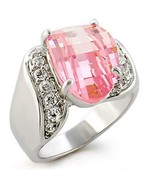 Fancy Checkerboard Cut Pink CZ October Birthstone  Ring .925 Sterling Si... - $35.00