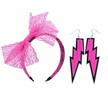 Women's 80s Costume Accessories Neon Lace Headband Hair Band with Bow Se... - $11.10