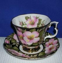 Lovely ALBERTA ROSE on BLACK Tea Cup & Saucer ROYAL ALBERT Flora Series EUC - $23.52