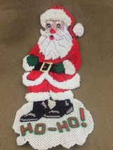 Finished Plastic Canvas Handstitched Christmas Ho-Ho Santa Wall Door Han... - $10.35