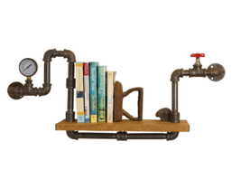 Steampunk Style Shelving, Vintage Farmhouse Wall Shelf With Pressure Gauges - $175.00