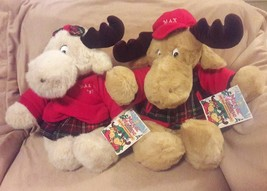 "Commonwealth Max & Maxine Christmas Moose 18"" With Tags 1997 Limited Edition - $84.14"