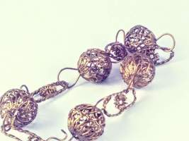 Vintage Gold Tone Filigree Ball Bracelet with Hook Clasp, Wire Ball Brac... - $36.00