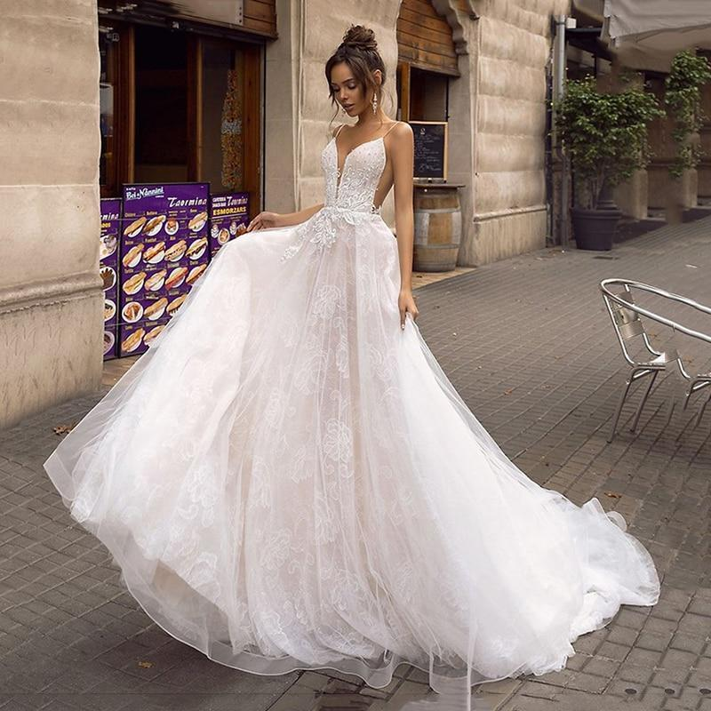 Orie a line backless wedding dress 2019 sexy spaghetti straps bridal dress 3d lace flowers fairy